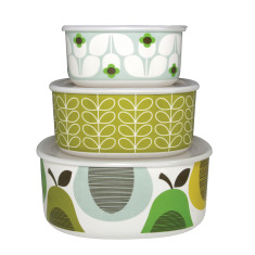 Orla Kiely storage bowls in peppermint/greengage (set of 3)