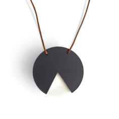 Geo circle necklace in grey mirror and white
