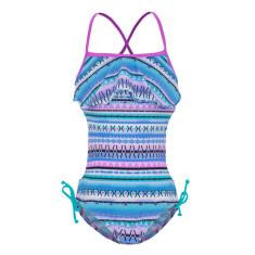 Girls' UPF 50+ aztec flounce swimsuit