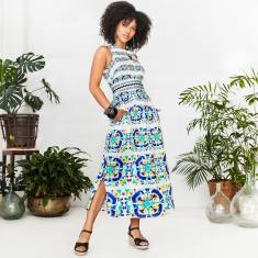 Dania sleeveless shirtmaker dress with side split in blue circle print