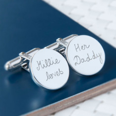 Men's personalised sterling silver round cufflinks