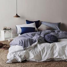 Stillness quilt cover set in White/Navy