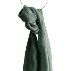 Forrest green linen scarf
