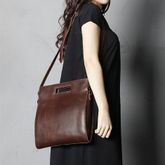 Leather shoulder bag tote bag