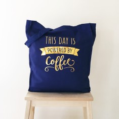 Powered by coffee gold foil tote bag