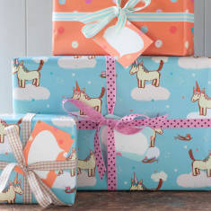 Gift Wrapping Set for birthdays or baby shower gifts (3 sheets & 3 tags of each design)