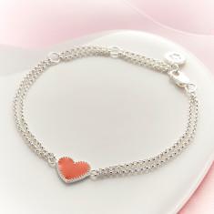 Elodie Pink Heart Bracelet
