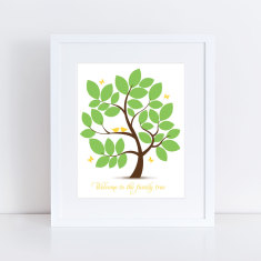 Personalised baby shower signature guest book tree print