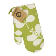 Organic cotton oven mitt in succulent citronelle green