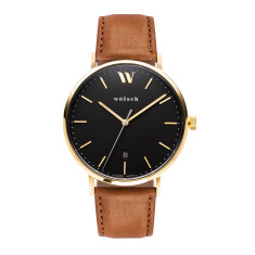 Versa 40 watch in Gold with Tan band