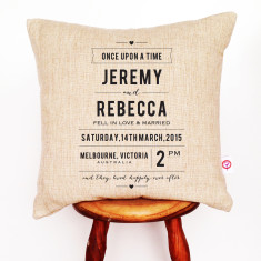 Once upon a time personalised wedding cushion cover