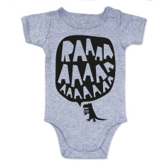 RAAAAA dinosaur onesie in black on grey