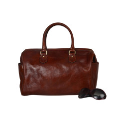Bowler brown leather duffel bag