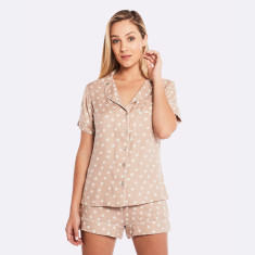 Raffles Short Pj Set In Latte/Ivory
