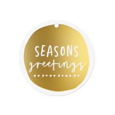 Seasons Greetings gold or silver foil gift tags (set of 10)
