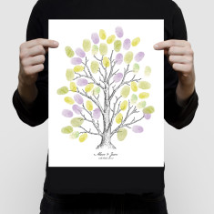 personalised fingerprint tree guest book vintage illustration with ink pads
