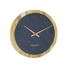 London Clock Company Carbon Solid Acacia Wood / Slate Inlay Wall Clock 25cm