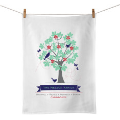 Family tree personalised typographic tea towel