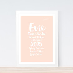 Fancy pastel birth print (various colours)