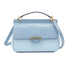 Divine two tone leather shoulder bag (dusty blues)