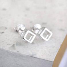 Sterling Silver Open Geo Cube Studs