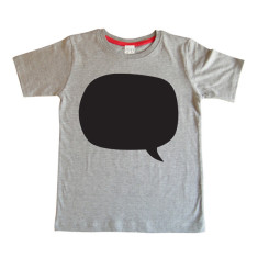 Kids' chalkboard t-shirt in speech bubble design