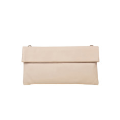 Small Leather Clutch Bag in Latte