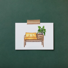 Pack of 4 Bench Seat Watercolour Illustration Greeting Cards