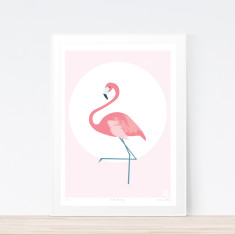 Little flamingo art print