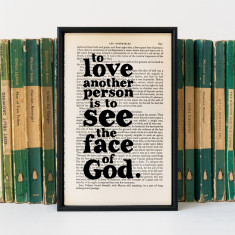 Anniversary Gift Les Misérables love quote - Book Page Print