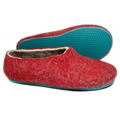 Women's Wool Shoes Slippers Red Teal Bird