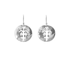 Tolus disc drop earrings in sterling silver
