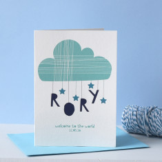 Personalised Cloud & Stars New Born Card