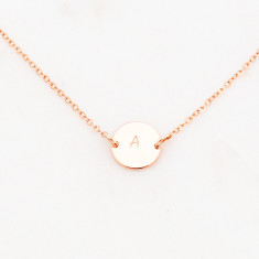 Personalised initial choker hand stamped disc necklace in rose gold