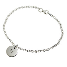 Personalised sterling silver initial circle bracelet