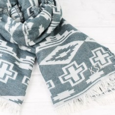 Personalised Nordic Blue Geometric Blanket Scarf