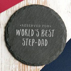 Worlds Best Step Dad Slate Coaster