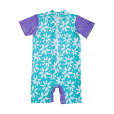 Baby short sleeve sunsuit in Summer Flowers Carabean