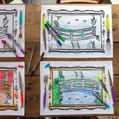 Doodle Monet placemats (set of 4), with wash-out pens