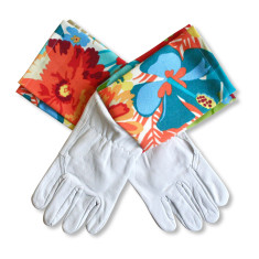 Protective Cuff leather gardening gloves in Jungle Fever