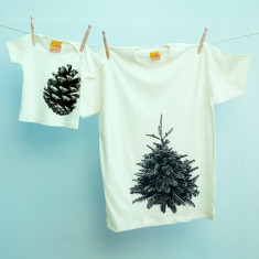 Pine tree & pine cone t-shirt twinset for dad and child (natural)