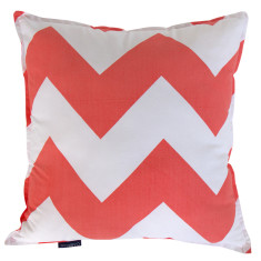 Chevron cushion cover in coral