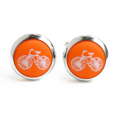 Orange bike cufflinks