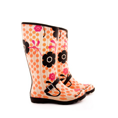Orange flower boot rubber wellies