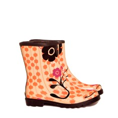 Orange flower mini rubber wellies