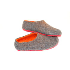 Women's wool slippers in tangerine grey