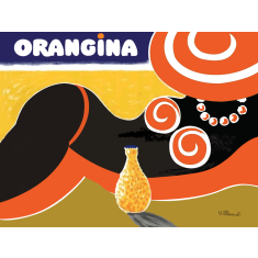 Orangina beach lady poster by French artist Bernard Villemot