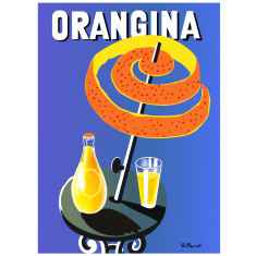 Orangina umbrella vintage poster