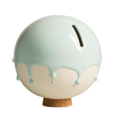 Danish ceramic orb money pot in mint