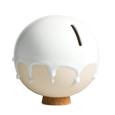 Danish ceramic orb money pot in white